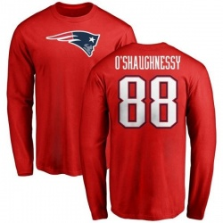 Men's James O'Shaughnessy New England Patriots Name & Number Logo Long Sleeve T-Shirt - Red