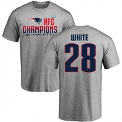 Men's James White New England Patriots 2017 AFC Champions T-Shirt - Heathered Gray