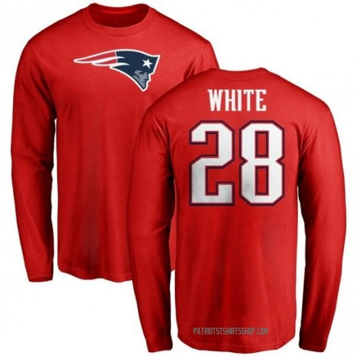 Men s James White New England Patriots Name   Number Logo Long Sleeve T- Shirt - Red 7cdbeb2fd