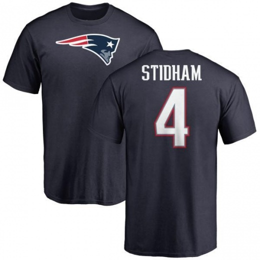 Men's Jarrett Stidham New England Patriots Name & Number Logo T-Shirt - Navy