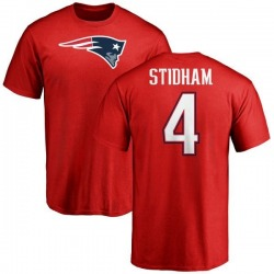 Men's Jarrett Stidham New England Patriots Name & Number Logo T-Shirt - Red