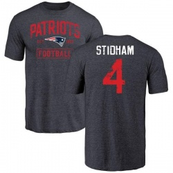 Men's Jarrett Stidham New England Patriots Navy Distressed Name & Number Tri-Blend T-Shirt