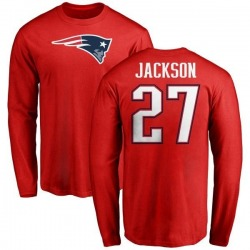 Men's J.C. Jackson New England Patriots Name & Number Logo Long Sleeve T-Shirt - Red