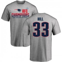 Men's Jeremy Hill New England Patriots 2017 AFC Champions T-Shirt - Heathered Gray