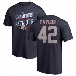 Men's J.J. Taylor New England Patriots 2018 AFC Champions Navy T-Shirt