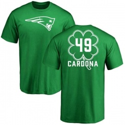 Men's Joe Cardona New England Patriots Green St. Patrick's Day Name & Number T-Shirt