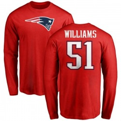 Men's Joejuan Williams New England Patriots Name & Number Logo Long Sleeve T-Shirt - Red