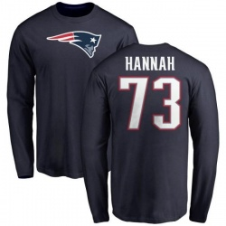 Men's John Hannah New England Patriots Name & Number Logo Long Sleeve T-Shirt - Navy