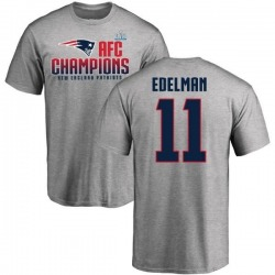 Men's Julian Edelman New England Patriots 2017 AFC Champions T-Shirt - Heathered Gray