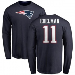 Men's Julian Edelman New England Patriots Name & Number Logo Long Sleeve T-Shirt - Navy