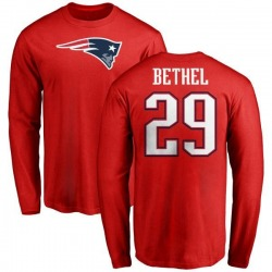 Men's Justin Bethel New England Patriots Name & Number Logo Long Sleeve T-Shirt - Red