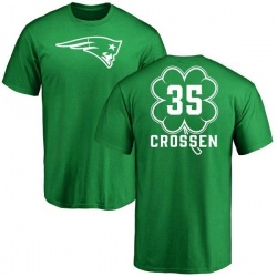 Men's Keion Crossen New England Patriots Green St. Patrick's Day Name & Number T-Shirt