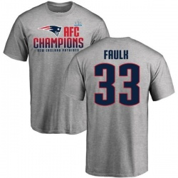 Men's Kevin Faulk New England Patriots 2017 AFC Champions T-Shirt - Heathered Gray