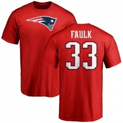 Men's Kevin Faulk New England Patriots Name & Number Logo T-Shirt - Red