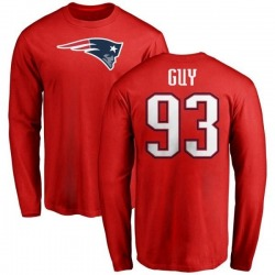 Men's Lawrence Guy New England Patriots Name & Number Logo Long Sleeve T-Shirt - Red