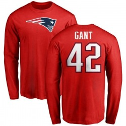 Men's Malik Gant New England Patriots Name & Number Logo Long Sleeve T-Shirt - Red