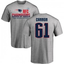 Men's Marcus Cannon New England Patriots 2017 AFC Champions T-Shirt - Heathered Gray