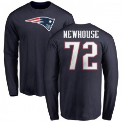 Men's Marshall Newhouse New England Patriots Name & Number Logo Long Sleeve T-Shirt - Navy