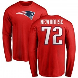 Men's Marshall Newhouse New England Patriots Name & Number Logo Long Sleeve T-Shirt - Red