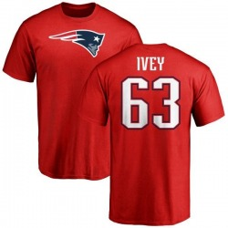 Men's Martez Ivey New England Patriots Name & Number Logo T-Shirt - Red