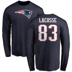 Men's Matt LaCosse New England Patriots Name & Number Logo Long Sleeve T-Shirt - Navy
