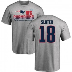 Men's Matthew Slater New England Patriots 2017 AFC Champions T-Shirt - Heathered Gray