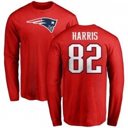 Men's Maurice Harris New England Patriots Name & Number Logo Long Sleeve T-Shirt - Red