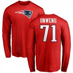 Men's Michael Onwenu New England Patriots Name & Number Logo Long Sleeve T-Shirt - Red