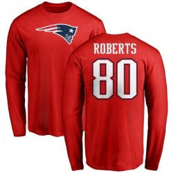 Men's Michael Roberts New England Patriots Name & Number Logo Long Sleeve T-Shirt - Red
