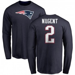Men's Mike Nugent New England Patriots Name & Number Logo Long Sleeve T-Shirt - Navy