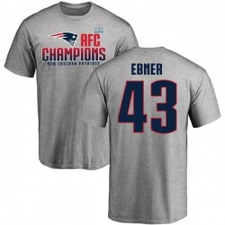 Men's Nate Ebner New England Patriots 2017 AFC Champions T-Shirt - Heathered Gray