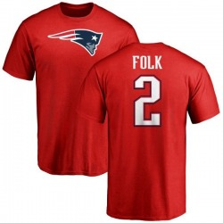 Men's Nick Folk New England Patriots Name & Number Logo T-Shirt - Red
