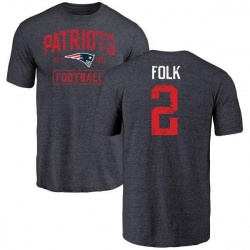 Men's Nick Folk New England Patriots Navy Distressed Name & Number Tri-Blend T-Shirt