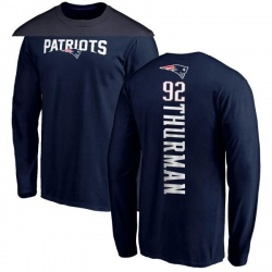 Men's Nick Thurman New England Patriots Backer Long Sleeve T-Shirt - Navy