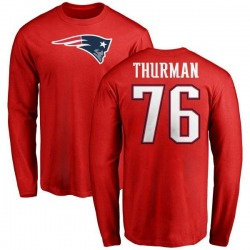Men's Nick Thurman New England Patriots Name & Number Logo Long Sleeve T-Shirt - Red
