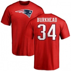 Men's Rex Burkhead New England Patriots Name & Number Logo T-Shirt - Red