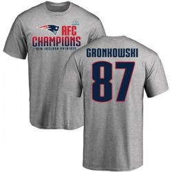 Men's Rob Gronkowski New England Patriots 2017 AFC Champions T-Shirt - Heathered Gray