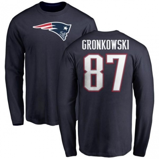 best sneakers 6b357 7cb3e Men's Rob Gronkowski New England Patriots Name & Number Logo Long Sleeve  T-Shirt - Navy