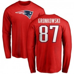 Men's Rob Gronkowski New England Patriots Name & Number Logo Long Sleeve T-Shirt - Red