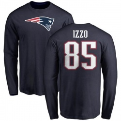 Men's Ryan Izzo New England Patriots Name & Number Logo Long Sleeve T-Shirt - Navy