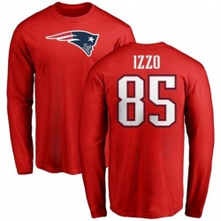 Men's Ryan Izzo New England Patriots Name & Number Logo Long Sleeve T-Shirt - Red