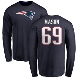 Men's Shaq Mason New England Patriots Name & Number Logo Long Sleeve T-Shirt - Navy