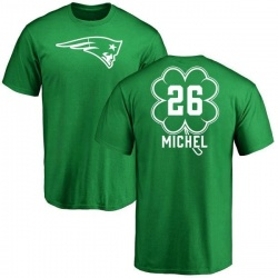 Men's Sony Michel New England Patriots Green St. Patrick's Day Name & Number T-Shirt
