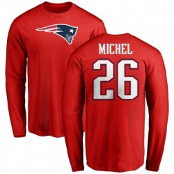 Men's Sony Michel New England Patriots Name & Number Logo Long Sleeve T-Shirt - Red