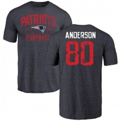 Men's Stephen Anderson New England Patriots Navy Distressed Name & Number Tri-Blend T-Shirt