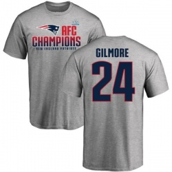 Men's Stephon Gilmore New England Patriots 2017 AFC Champions T-Shirt - Heathered Gray