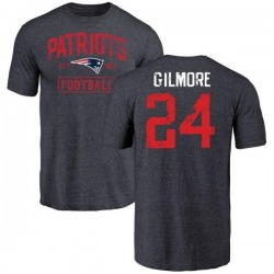 Men's Stephon Gilmore New England Patriots Navy Distressed Name & Number Tri-Blend T-Shirt