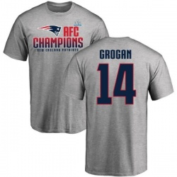 Men's Steve Grogan New England Patriots 2017 AFC Champions T-Shirt - Heathered Gray