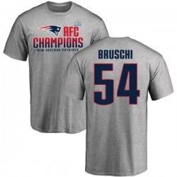 Men's Tedy Bruschi New England Patriots 2017 AFC Champions T-Shirt - Heathered Gray