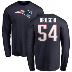 Men's Tedy Bruschi New England Patriots Name & Number Logo Long Sleeve T-Shirt - Navy